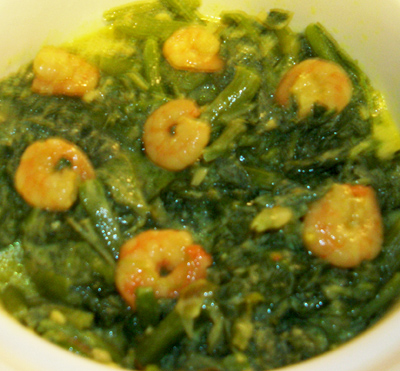 Pumpkin leaves with prawn
