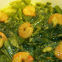 Pumpkin leaves with prawn (Kumra Shak)